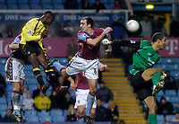 Photo: Glyn Thomas.<br />Aston Villa v Manchester City. The FA Cup. 19/02/2006.<br /> City's Micah Richards (L) scores a last-minute equaliser.