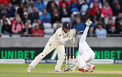 West Indies Jermaine Blackwood is stumped by England's Jonny Bairstow during day three of the First Investec Test match at Edgbaston, Birmingham. PRESS ASSOCIATION Photo. Picture date: Saturday August 19, 2017. See PA story CRICKET England. Photo credit should read: David Davies/PA Wire. RESTRICTIONS: Editorial use only. No commercial use without prior written consent of the ECB. Still image use only. No moving images to emulate broadcast. No removing or obscuring of sponsor logos.
