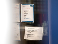 © Licensed to London News Pictures. 06/03/2020. London, UK. Coronavirus warning signs at the entrance to the Emergency ward at Kings College Hospital in South London, where two patients have tested positive for coronavirus. New cases of the COVID-19 strain of Coronavirus are being reported daily as the government outlines it's plans for controlling the outbreak. Photo credit: Ben Cawthra/LNP