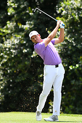May 4, 2019 - Charlotte, NC, U.S. - CHARLOTTE, NC - MAY 04: Sergio Garcia plays his shot from the 14th tee as he pushes to move up in round three of the Wells Fargo Championship on May 04, 2019 at Quail Hollow Club in Charlotte,NC. (Photo by Dannie Walls/Icon Sportswire) (Credit Image: © Dannie Walls/Icon SMI via ZUMA Press)