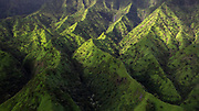 The green hills of Kauai, Hawaii, seen from a helicopter over the island
