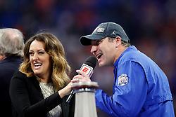 Dan Mullen celebrates winning the Chick-fil-A Peach Bowl, Saturday, December 29, 2018, in Atlanta. ( Paul Abell via Abell Images for Chick-fil-A Peach Bowl)