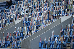 Cardboard cut outs of the fans are seen in the stand - Mandatory by-line: Arron Gent/JMP - 18/06/2020 - FOOTBALL - JobServe Community Stadium - Colchester, England - Colchester United v Exeter City - Sky Bet League Two Play-off 1st Leg