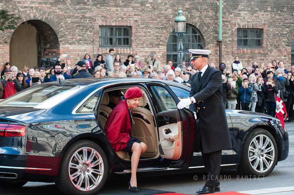 03.10.2017. Copenhagen, Denmark. <br /> Princess Benedikte's arrival to Christiansborg Palace for attended the opening session of the Danish Parliament (Folketinget).<br /> Photo: © Ricardo Ramirez