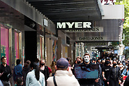 Animal rights activists make a statement in front of Myers as shoppers flock back into the CBD during the COVID-19 in Melbourne. With over a week of zero cases in Victoria, Premier Daniel Andrews is expected to make major announcements on Sunday about further easing of restrictions. (Photo by Dave Hewison/Speed Media)