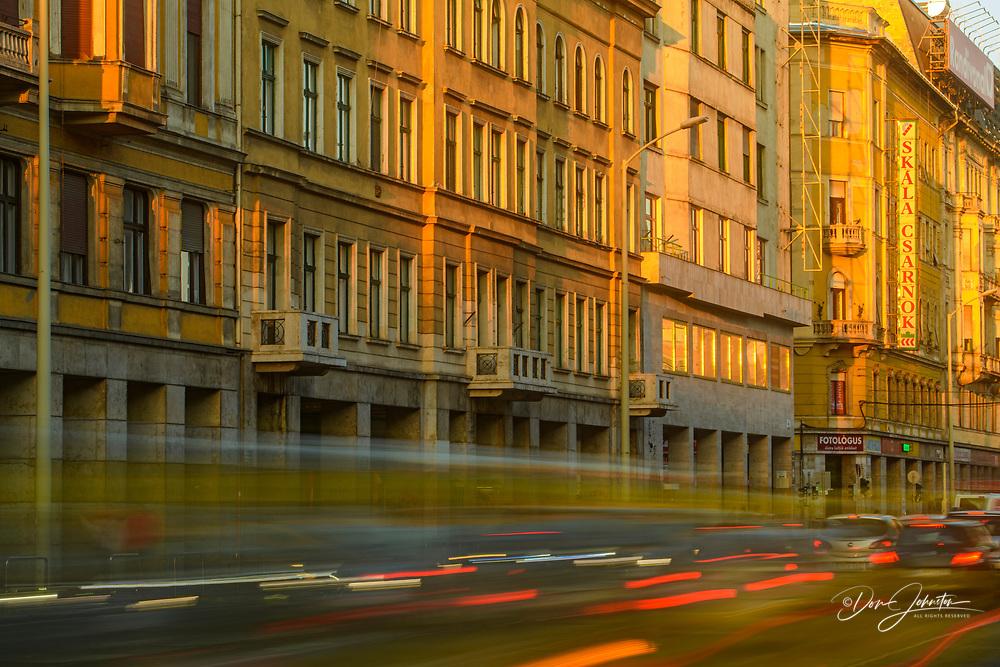 Downtown Budapest (Pest)- City buildings along Rakoczi Ut, Budapest, Central Hungary, Hungary