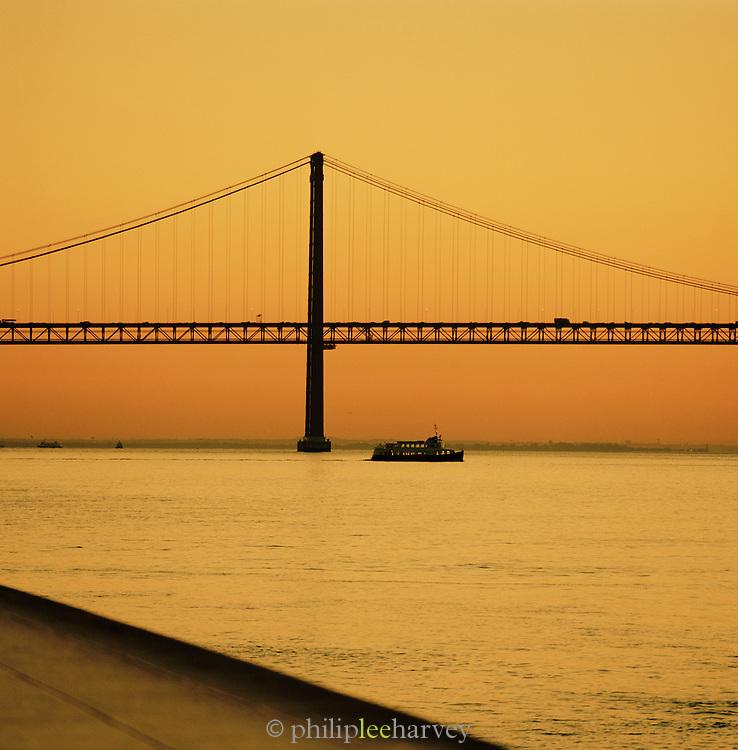 25 de Abril, 25th of April, Bridge connecting Lisbon to the municipality of Almada. Lisbon, Portugal