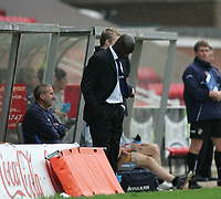 Photo: Lee Earle.<br /> Swindon Town v Port Vale. Coca Cola League 1. 08/10/2005. Swindon manager Iffy Onuora does not want to watch as his team loose at home to Port Vale.