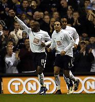 Photo: Olly Greenwood.<br />Tottenham Hotspur v Charlton Athletic. The Barclays Premiership. 09/12/2006. Spurs Jermaine Defoe celebrates scoring with Teemu Tianio