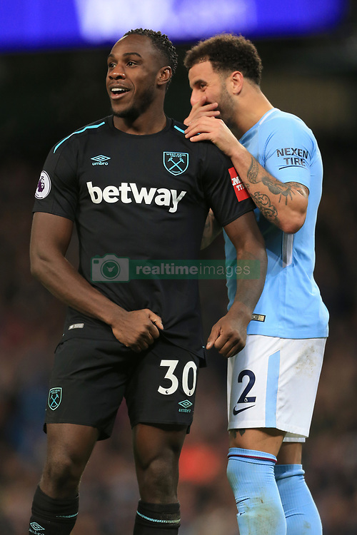 3rd December 2017 - Premier League - Manchester City v West Ham United - Kyle Walker of Man City jokes with Michail Antonio of West Ham - Photo: Simon Stacpoole / Offside.