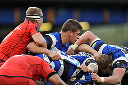 Charlie Ewels of Bath Rugby in action at a maul - Photo mandatory by-line: Patrick Khachfe/JMP - Mobile: 07966 386802 25/10/2014 - SPORT - RUGBY UNION - Bath - The Recreation Ground - Bath Rugby v Toulouse - European Rugby Champions Cup