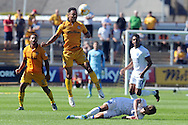 Newport's Jazzy Barnum-Bobb (in air) fouls Mansfield's Danny Rose (on ground). Skybet EFL league two match, Newport county v Mansfield Town at Rodney Parade in Newport, South Wales on Saturday 6th August 2016.<br /> pic by Carl Robertson, Andrew Orchard sports photography.