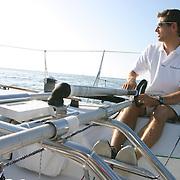 ERWAN TABARLY prépare la Solitaire du Figaro sur son BENETEAU FIGARO 2, pour la SOLITAIRE DU FIGARO a la base nautique de PORT LA FORET.