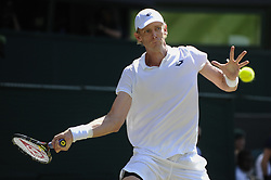 LONDON, July 16, 2018  Kevin Anderson of South Africa hits a return during the men's singles final match against Novak Djokovic of Serbia at the Wimbledon Championships 2018 in London, Britain, on July 15, 2018. Novak Djokovic won 3-0. (Credit Image: © Stephen Chung/Xinhua via ZUMA Wire)