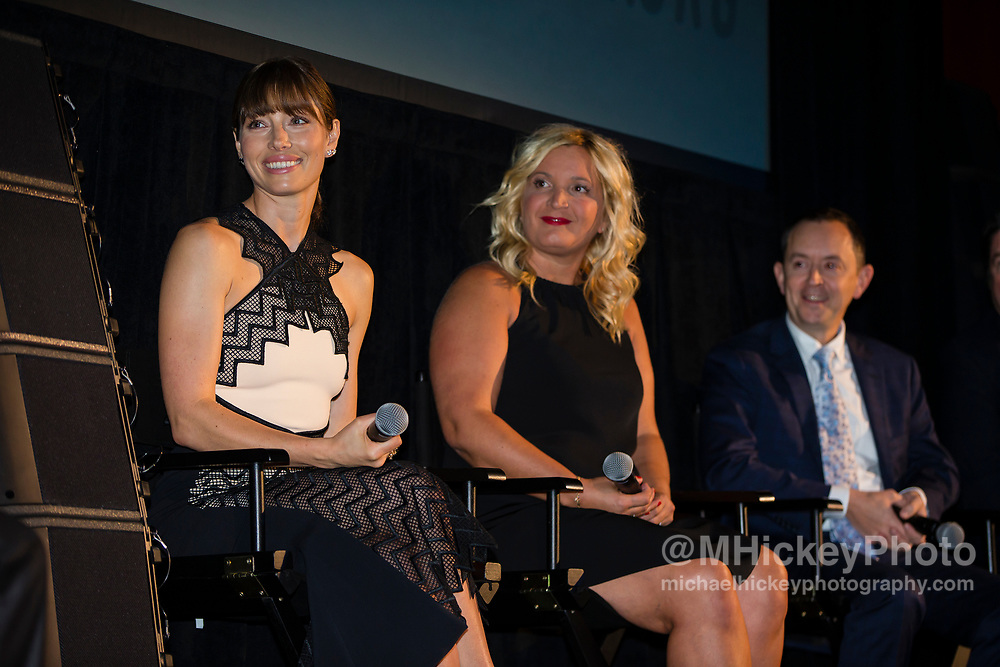 INDIANAPOLIS, IN - OCTOBER 20: Jessica Biel, Michelle Purple and Richard Robichaux appear at the Hoosier Heartland Film Festival screening of The Book of Love at the Scottish Rite Cathedral on October 20, 2016 in Indianapolis, Indiana.  (Photo by Michael Hickey/Getty Images) *** Local Caption *** Jessica Biel; Michelle Purple; Richard Robichaux