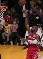 October 20, 2018 - Los Angeles, California, U.S - Chris Paul #3 of the Houston Rockets puts up a shot during their NBA game with the Los Angeles Lakers on Saturday October 20, 2018 at the Staples Center in Los Angeles, California. (Credit Image: © Prensa Internacional via ZUMA Wire)