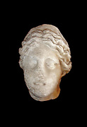 Marble sculpted head of a woman at the Castel Sant'Angelo in Rome, Italy. Originally found in the Flavian amphitheatre and dated circa 2nd century AD. Most likely originally a depiction of divinity, but the portrait has been extremely weathered by time. Roman, circa 2nd century AD.