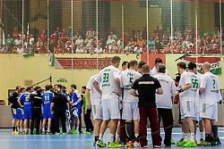 Teams during handball match between National teams of Slovenia and Hungary in play off of 2015 Men's World Championship Qualifications on June 15, 2014 in Rdeca dvorana, Velenje, Slovenia. Photo by Urban Urbanc / Sportida
