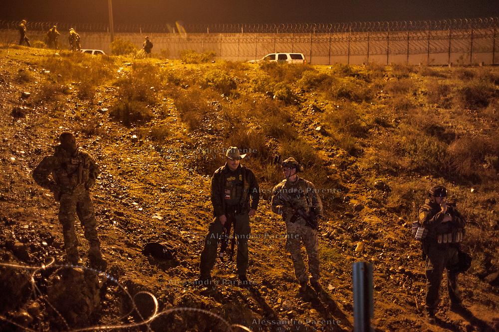 U.S. Army patrolling the border in Tijuana.