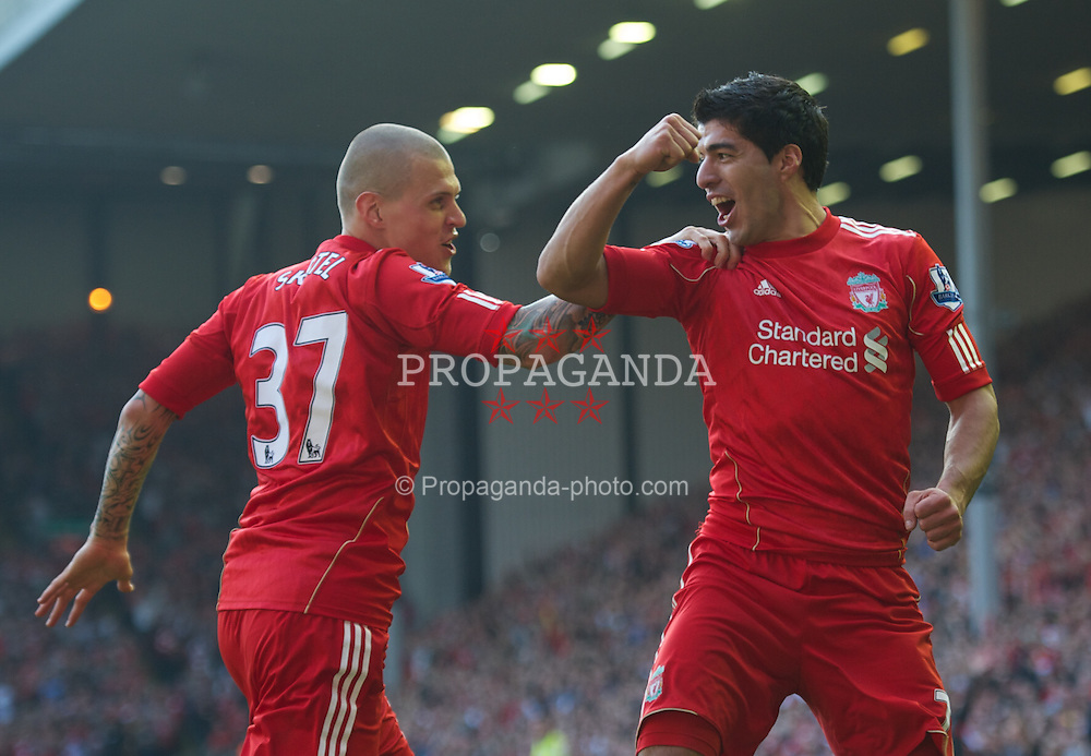 LIVERPOOL, ENGLAND - Saturday, March 24, 2012: Liverpool's Luis Alberto Suarez Diaz celebrates scoring a goal, but it is later dissallowed by referee Lee Mason, during the Premiership match against Wigan Athletic at Anfield. (Pic by David Rawcliffe/Propaganda)