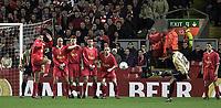 Fotball: Liverpool face a free-kick from Barcelona Rivaldo.