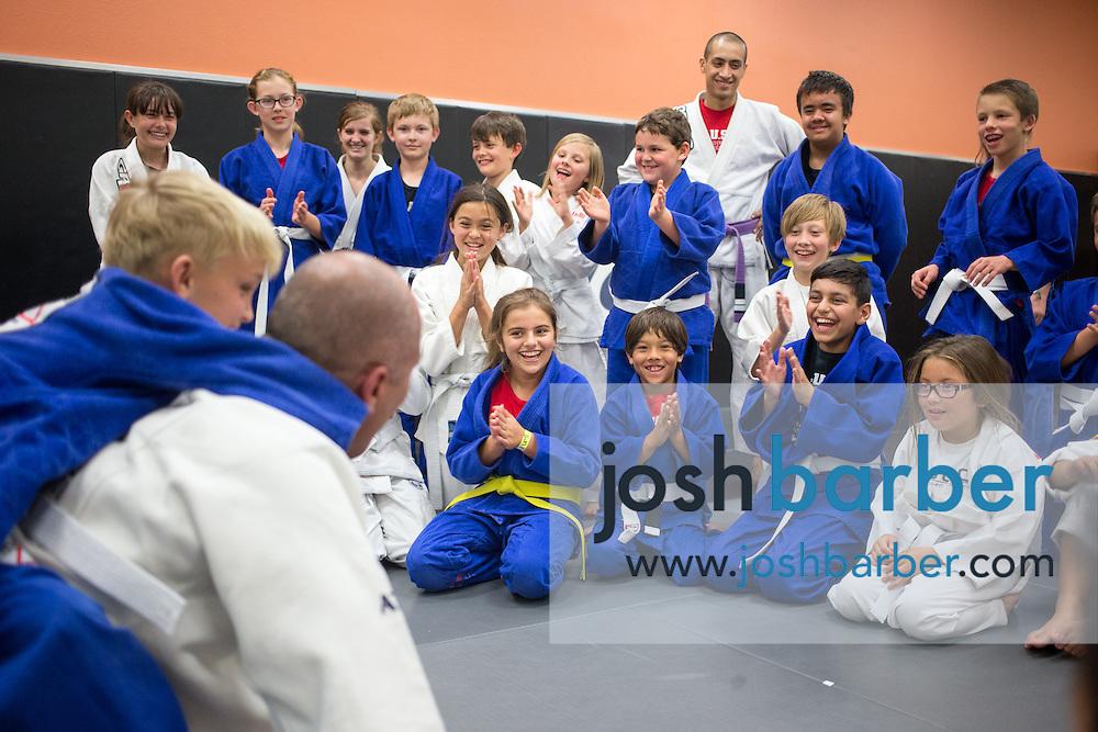 The class during a jiu-jitsu lesson at US Blackbelt Academy on Thursday, March 26, 2015 in Laguna Niguel, Calif. (Photo/Josh Barber)