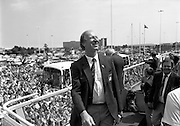 Irish Soccer Team Welcomed Home.   (R81)..1988..19.06.1988..06.19.1988..19th June 1988..After their great success in Germany in Euro 88, the Irish soccer team had a triumphant homecoming. An Taoiseach, Charles Haughey TD and his government were to the forefront of the welcome. Thousands of fans thronged the airport and all the approach roads in the hope of seeing the team. The full squad is as follows..1.GK.Packie Bonner. Celtic.2.DF.Chris Morris. Celtic.3.DF.Chris Hughton  Tottenham Hotspur.4.DF.Mick McCarthy. Celtic.5.DF.Kevin Moran. Manchester United.6.MF.Ronnie Whelan. Liverpool.7.MF.Paul McGrath. Manchester United.8.MF.Ray Houghton. Liverpool.9.FW.John Aldridge. Liverpool.10.FW.Frank Stapleton Derby County.11.MF.Tony Galvin. Sheffield Wednesday.12.FW.Tony Cascarino. Millwall.13.MF.Liam O'Brien. Manchester United.14.FW.David Kelly. Walsall.15.MF.Kevin Sheedy. Everton.16.GK.Gerry Peyton. Bournemouth.17.FW.John Byrne. Le Havre.18.FW.John Sheridan. Leeds United.19.DF.John Anderson. Newcastle United.20.FW.Niall Quinn. Arsenal..Jack Charlton is pictured taking his place aboard the bus prior to the drive to Dublin city centre.