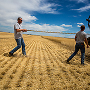 Rodney Wolgemuth, 22, on the left, and Hans Shuman, 25, replace a broken sickle during wheat harvest. Kimball, Nebraska, July 2017.
