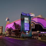Visitors are seen on the Las Vegas Strip in Las Vegas, Nevada on Thursday, October 15, 2020. (Alex Menendez via AP)