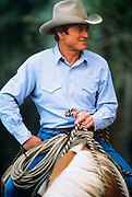 """LIVINGSTON, MT - AUGUST:  Robert Redford sits on his horse during the filming of """"The Horse Whisperer"""" in 1997. (Photo by John Kelly/Getty Images)"""