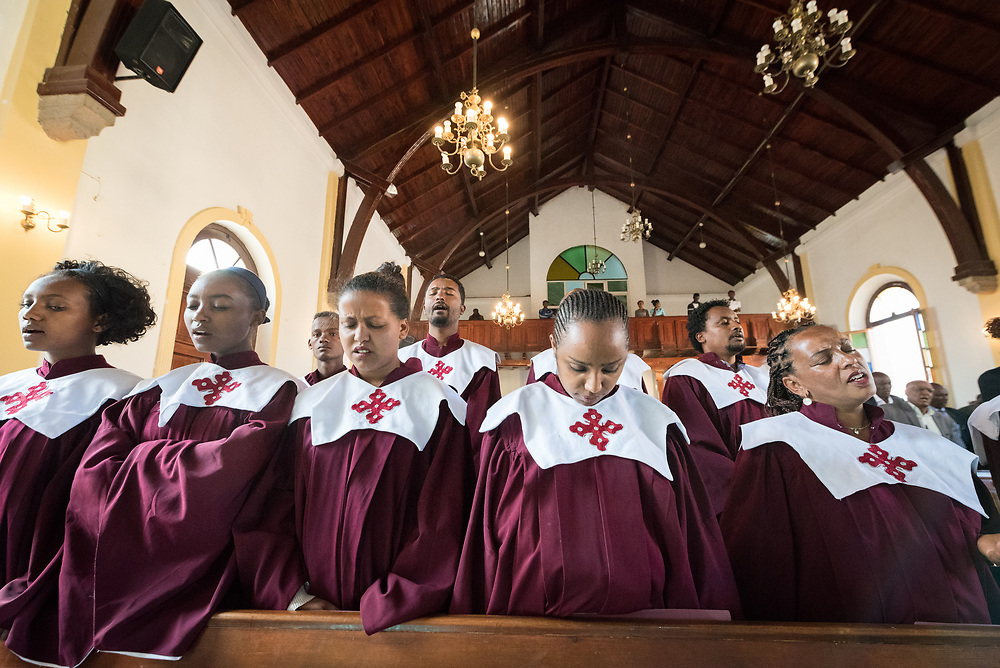 3 February 2019, Addis Ababa, Ethiopia: The parish choirs sings, as more than 400 congregants, including a range of ecumenical guests, gather for worship at the Addis Ababa Evangelical Church Mekane Yesus, a congregation in the Ethiopian Evangelical Church Mekane Yesus. The congregation goes back to the very roots of the Lutheran presence in Ethiopia, and currently serves some 2,000 congregants, in a church of 9.3 million members spread across 9,000+ congregations around Ethiopia.