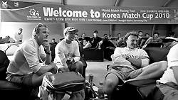 Ian Williams and his crew relax. Racing postponed due to lack of wind. Sailors Lounge. Korea Match Cup 2010. World Match Racing Tour. Gyeonggi, Korea. 10th June 2010. Photo: Ian Roman/Subzero Images.