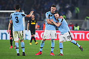 Sergej Milinkovic Savic of Lazio celebrates with his teammates after scoring 2-1 goal during the Italian championship Serie A football match between SS Lazio and FC Internazionale, Saturday,Feb 16, 2020, at Stadio Olimpico in Rome, Italy. (Fedrico Proietti/Image of Sport via AP)