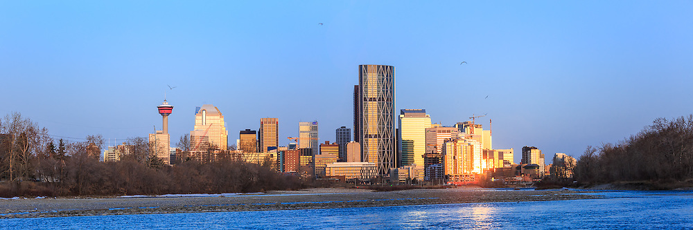 The Calgary skyline as seen from the Bow River on St. Patricks Island.<br /> <br /> ©2015, Sean Phillips<br /> http://www.RiverwoodPhotography.com