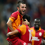 Galatasaray's Emre Colak with Umut Bulut celebrating his goal during their Turkish Super League soccer match Galatasaray between Kasimpasa at the TT Arena at Seyrantepe in Istanbul Turkey on Monday 20 August 2012. Photo by TURKPIX