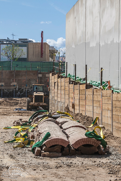 April 26, 2014. Zanja Madre lays broken after its transfer to a flat bed truck failed in an attempt to remove the structure to nearby Metabolic Studios for safe keeping. The 100 foot section and 4 foot diameter of brick pipe was found at a construction site at Chinatown and is a remnant of the 90 mile network of channels that brought water to the early inhabitants of Los Angeles. Originally built in 1781 it was enclosed in 1877 and eventually abandoned in 1904.