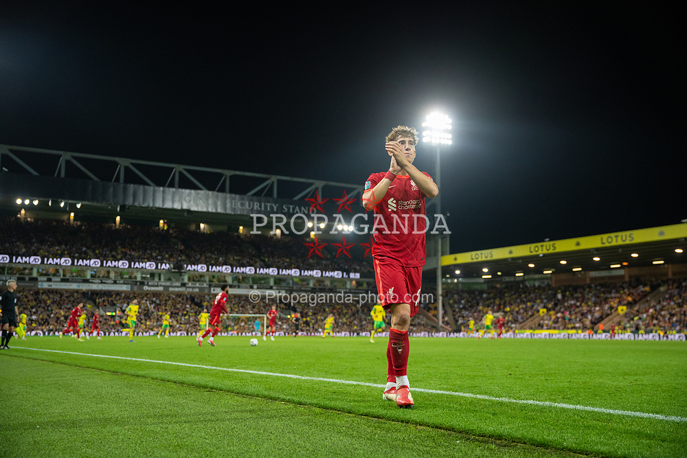 NORWICH, ENGLAND - Tuesday, September 21, 2021: Liverpool's Kostas Tsimikas applauds the travelling supporters as he is substituted during the Football League Cup 3rd Round match between Norwich City FC and Liverpool FC at Carrow Road. Liverpool won 3-0. (Pic by David Rawcliffe/Propaganda)