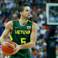 08 August 2012: Lithuania Mantas Kalnietis looks to pass the ball during Team Russia vs Team Lithuania, during the men's basketball quarter-finals, at the 02 Arena, in London, Great Britain.