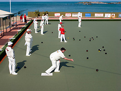 People playing lawn bowls at Port Phillip bowling club in Australia