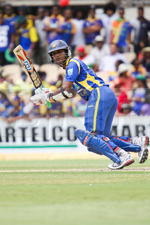 © Licensed to London News Pictures. 14/02/2012. Adelaide Oval, Australia. Dinesh Chandimal looks on after he plays a cut shot during the One Day International cricket match between India Vs Sri Lanka. Photo credit : Asanka Brendon Ratnayake/LNP