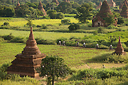 In the early morning locals cycle past the pagodas of the ancient city of Bagan in Myanmar