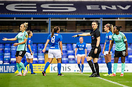 Referee Lucy May gives penalty during the FA Women's Super League match between Birmingham City Women and Brighton and Hove Albion Women at St Andrews, Birmingham United Kingdom on 12 September 2021.