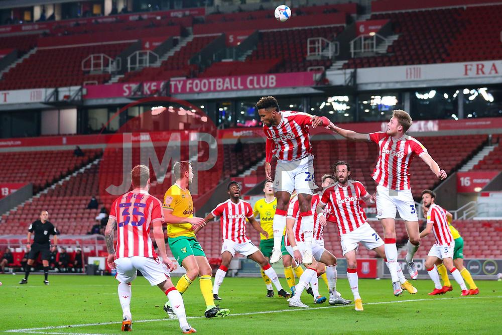 Tyrese Campbell of Stoke City  heads away a Norwich corner - Mandatory by-line: Nick Browning/JMP - 24/11/2020 - FOOTBALL - Bet365 Stadium - Stoke-on-Trent, England - Stoke City v Norwich City - Sky Bet Championship