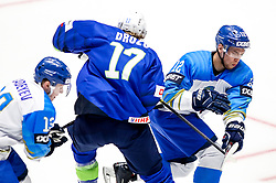 Jan Drozg of Slovenia vs Yegor Shalapov of Kazakhstan during ice hockey match between Slovenia and Kazakhstan at IIHF World Championship DIV. I Group A Kazakhstan 2019, on April 29, 2019 in Barys Arena, Nur-Sultan, Kazakhstan. Photo by Matic Klansek Velej / Sportida