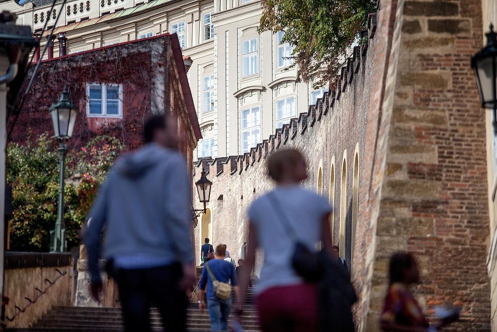 Treppen Aufgang zur Prager Burg von der Kleinseite Mala Strana.