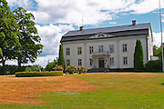 Traditional style Swedish wooden painted house. Manor house. Smaland region. Sweden, Europe.