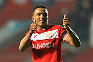 Winning goalscorer Niclas Eliasson (19) of Bristol City gives the thumbs up to fans as he celebrates the 2-1 win over Bolton at full time during the The FA Cup fourth round match between Bristol City and Bolton Wanderers at Ashton Gate, Bristol, England on 25 January 2019.