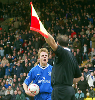 Photograph: Scott Heavey.<br /> Watford v Chelsea. FA Cup Third Round. 03/01/2004.<br /> Jesper Gronkjaer blasts his frustration at the referee's assisstant