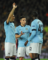 Manchester City's Samir Nasri speaks with Manchester City's Yaya Toure - Photo mandatory by-line: Dougie Allward/JMP - Mobile: 07966 386802 - 18/03/2015 - SPORT - Football - Barcelona - Nou Camp - Barcelona v Manchester City - UEFA Champions League - Round 16 - Second Leg