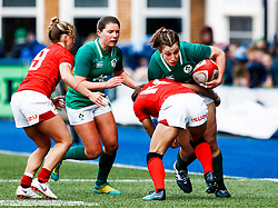 Laura Feely of Ireland   is tackled by Jasmine Joyce of Wales<br /> <br /> Photographer Simon King/Replay Images<br /> <br /> Six Nations Round 5 - Wales Women v Ireland Women- Sunday 17th March 2019 - Cardiff Arms Park - Cardiff<br /> <br /> World Copyright © Replay Images . All rights reserved. info@replayimages.co.uk - http://replayimages.co.uk